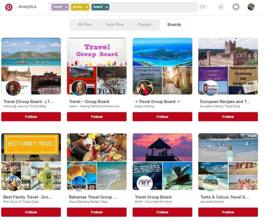 Travel group boards